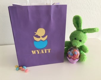 Custom Name with Baby Chick on Easter Gift Bag