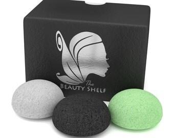 Konjac Sponge (3 Pack) - Facial Sponges - Hemisphere Shape - Charcoal, Green Tea, Natural White by The Beauty Shelf