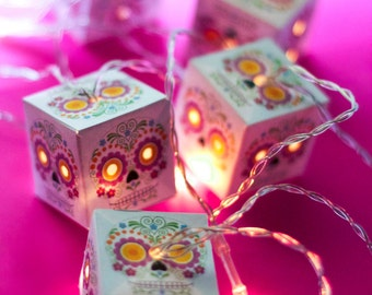 Sugar Skull dia de los muertos FIESTA LED lanterns Day of the Dead or Halloween fairy lights for bedroom