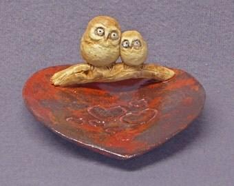 Handmade Ceramic Dish with Owl Family- Trinket Holder, Ring Holder, Jewelry Holder, Ceramic Owl,  Ceramic Art,