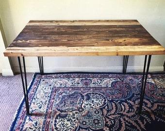 SALE Mid Century Modern Table - 3 Rod Hairpin Legs | Rustic Reclaimed Wood Modern Desk