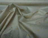 Metallic Gold floral flowers Cream cotton poplin fabric Rose and Hubble Christmas tablecloth decoration XMAS quilting fabric - Per METRE