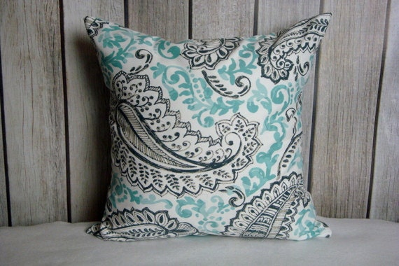 Feather Pillow. Aqua Blue Pillow. Pillow Cover