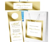 20 Gold on white Wedding Welcome Bag Sets with Bags, Water Bottle Labels, Door Hangers,  Welcome Bags, out of towner bag, Hospitality Bag