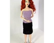 Lavender and black dress