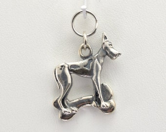 Sterling Silver Great Dane Charm by Donna Pizarro from her Animal Whimsey Collection of Fine Dog Jewelry & Great Dane Jewelry