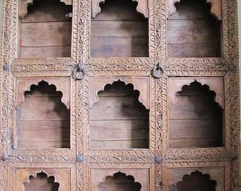 Antique Late 1800s Ornate Hand Carved Teak Wood Antique Indian Shelves