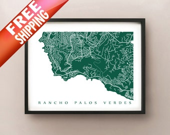 Rancho Palos Verdes Map Print - California Art Poster