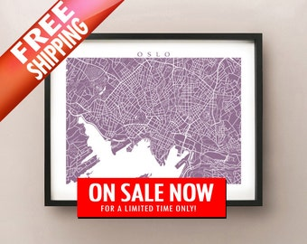 Oslo Map Art Print -  Norway Poster