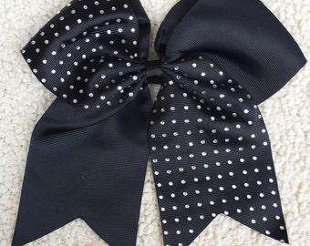 Cheer Bow/ Cheerleader Bow/ Cheerleading Bow/ Cheerleader Gift/ Hair Bow/ Bow/ Half Rhinestone Black Cheer Bow Cheerleading Bling