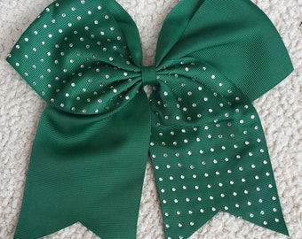 Cheer Bow/ Cheerleader Bow/ Cheerleading Bow/ Cheerleader Gift/ Hair Bow/ Bow/ Half Rhinestone Forest Green Cheer Bow Cheerleading Bling