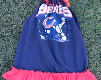 Chicago Bears Up cycled Girls ruffled, One of a Kind dress, Size 4/5.  Super cute!