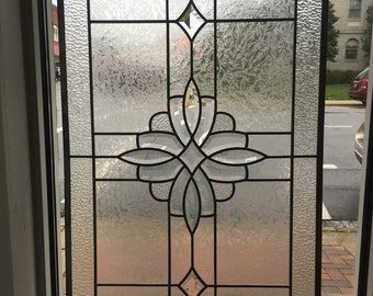 Beautiful Clear with Bevels Stained Glass Panel Sun Catcher