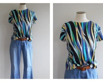 Vintage 90s CALVIN*KLEIN Knitted BLOUSE // Abstract Print Tee // Cap Sleeve Top // Plus Size // Secretarial //  Size: L