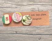 Mexico magnet set: 3 fridge magnets made using an original map, stamp and picture of the flag. Gift idea for best friend, new home, birthday