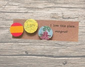 Spain magnet set: 3 fridge magnets made using an original map, stamp and picture of the flag. Gift idea for best friend, new home, birthday