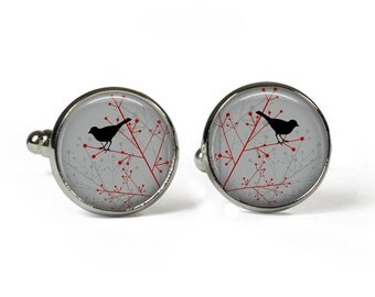 BIRD on GREY - Glass Picture Cufflinks - Silver Plated (Art Print Photo K16)