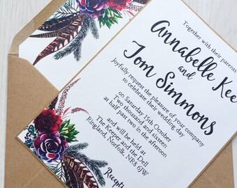 Invitación de boda floral rústico - invitación de la boda de Borgoña guirnalda floral - invitación de la boda rústica - Boho