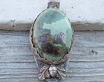 Fine SILVER Natural Green Turquoise Stone Pendant, Oak Leaves & Acorn, handmade bezel, Boho Western, Nature handcrafted .999 ARTISAN Jewelry
