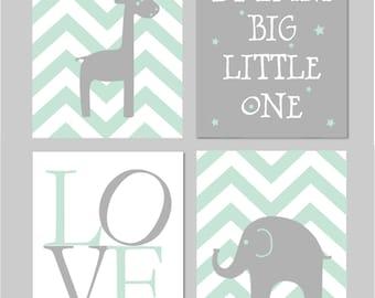 "Mint Nursery Decor, Mint and Grey Nursery, Elephant Nursery, Dream Big Little One, Baby Boy Nursery, Mint Nursery INSTANT DOWNLOAD 8""x10"""