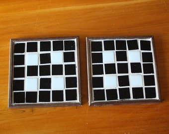 Black with White Glass Mosaic Coasters-Set of 2