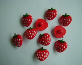 10 red strawberry buttons