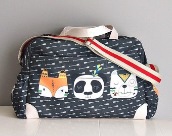DIAPER BAG Tribal Friends/ Nappy bag featuring Fox, Bear and Panda on chalk black background with white arrows/ mommy bag/sleepover bag