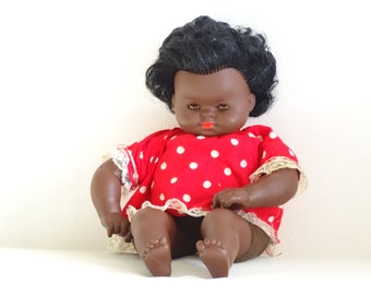 Vintage Emaso Doll, Vintage Brown/Black Doll