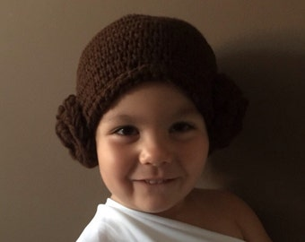 Princess Leia Costume - Crochet Star Wars Princess Leah Hair Hat Wig - Kids Star Wars Costume - Comic-Con Costume - Baby Cosplay - Newborn