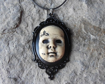 "Creepy Baby Doll, Zombie Baby, Zombie, Scary Doll,(Hand Painted) Cameo Pendant Necklace- 18"" Leather Cord- Great Quality!! 2"" Long"