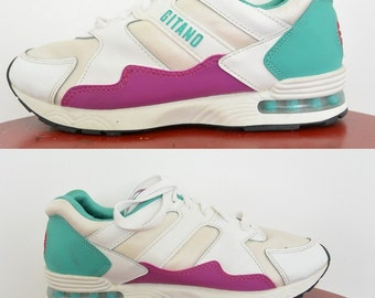 Gitano Techna-Fit Athletic Shoes 80's New with Tags size 8 1/2  Aerobic Shoes Teal/Purple/White Deadstock Vegan Man Made Material