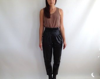 Pleated Black Leather Pants Tapered Leg High Waisted Toffs Brand