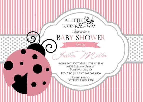 ladybug baby shower invitation pink and green ladybug baby shower
