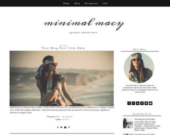 Blogger Template - Fashion Blogger Template - Responsive Blogger Design - Blogger Theme - Black and White - Minimal Macy