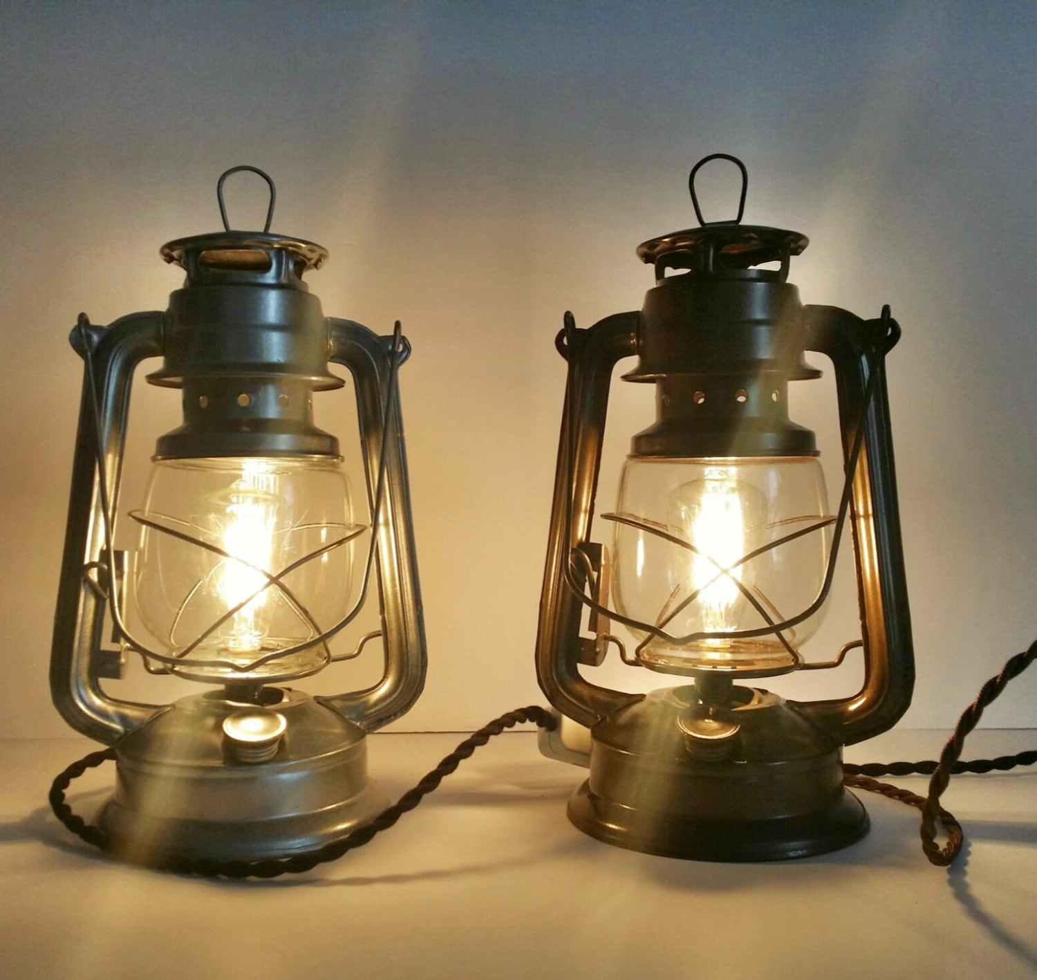 Lantern Lamps Set 2 Pair Of Electric Table By Recycledrevival