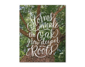Oak Uplifting Quote 11x14 8x10 Print Handlettering Landscape Nature Wanderlust Vintage Photography