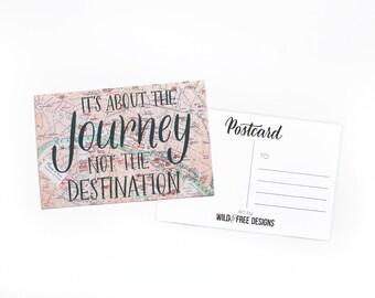4x6 Postcard Journey Destination Moms, Dads and Grads Vintage Map Print Hand Lettering Travel Wanderlust Paris Postcard set