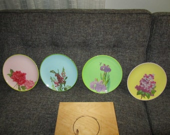 Set of Four Floral Melamine Plates in Wood Case