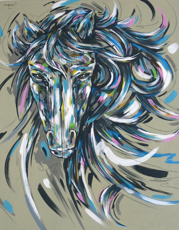 items similar to sold acrylic painting on canvas horse