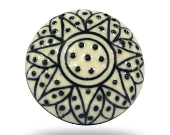 White Ceramic Furniture Knob with Black Floral Design, Modern and Contemporary Cabinet Fixture for your Home Décor, Decorative Drawer Pull