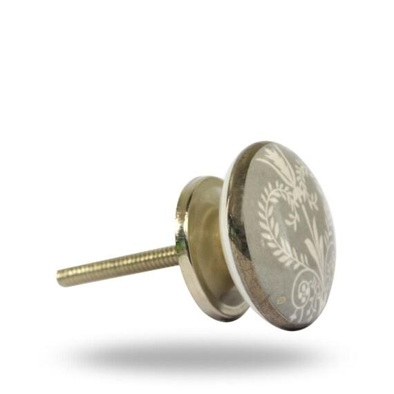 Decorative grey ceramic door knob with white design for Bedroom bureau knobs
