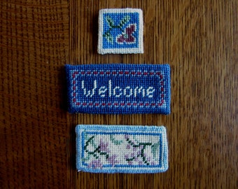 Vintage Doll House Welcome Mats, Tiny Accent Area Rugs,Needlepoint,HandMade,Blue,Floral Motif,Front Door,Miniature Dollhouse Rugs,Floor Mats