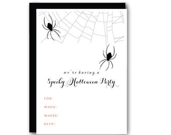 Halloween Party Invitations, Spider, Kids