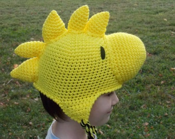 Yellow Bird Woodstock Hat, Beanie, Stocking Cap with Ear Flaps - Peanuts
