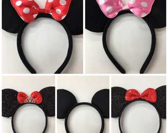 Mickey minnie mouse ears headband /Disney Trip/ minnie inpried princess ears / disney ears headband /Princess Minnie headband/ Disney party