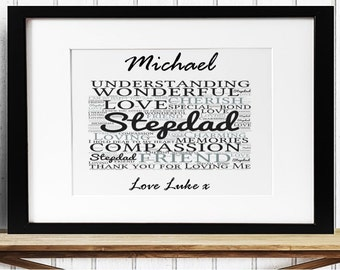 Personalised Stepdad Framed Word Art