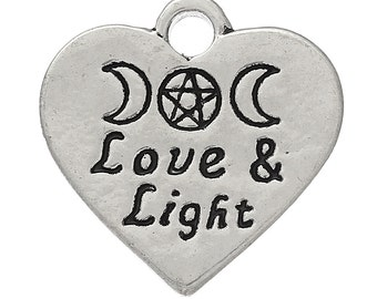 "10 Charms for Pagan Celtic Wicca Jewellery Crafts ~""Love & Light "" Heart Charms Exclusively Designed"