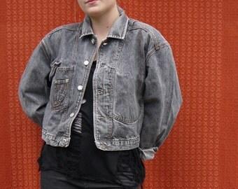 Vintage Grey Denim Jacket Cropped 90s Grunge Style