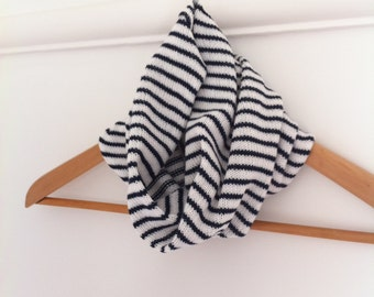 Striped cotton snood, knitted snood, nautical snood, neck warmer, striped cowl, knit cowl, cotton striped cowl