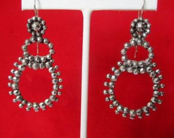 Pair of Antique  2.50-Inch Cut-Steel Earrings